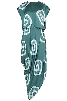Green tie dye drape dress