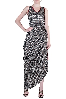 Black cowl drape dress by Roshni Chopra