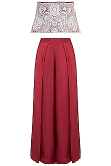 Red embroidered off shoulder top with pants