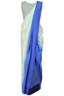 Blue Shaded Drape Saree and Embroidered Blouse Set