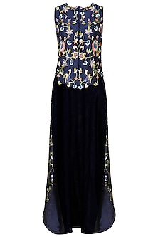Navy Blue Floral Embroidered High Low Cape Jacket