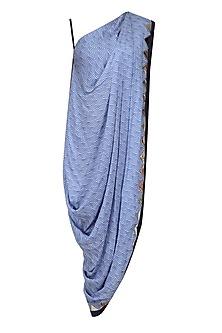 Blue Scallop Print One Shoulder Cowl Top by Roshni Chopra