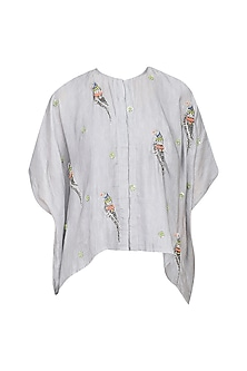 Grey Parrot Motifs Kaftan Top
