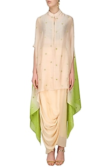 Nude Pink Embroidered Crop Top and Drape Skirt Set by Roshni Chopra