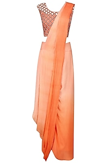 Orange Cutwork Blouse and Shaded Peack Skirt Saree Set