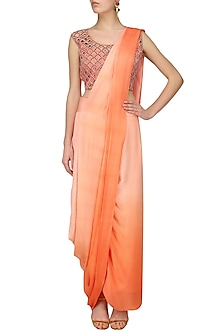 Orange Cutwork Blouse and Shaded Peack Skirt Saree Set by Roshni Chopra