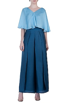 Blue Flap Pants with Top by Roshni Chopra