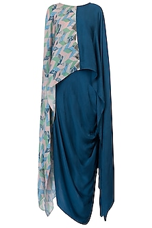 Blue Kaftan Top with Skirt by Roshni Chopra