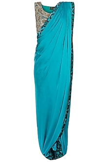 Green Embroidered Sareee with Pants