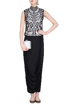 Black Birds and Floral Embroidered Nehru Jacket and Wrap Skirt Set by Roshni Chopra