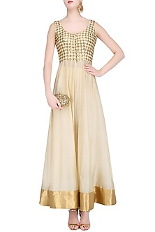 Beige and Gold Embroidered Kurta and Dhoti Pants Set by Roshni Chopra