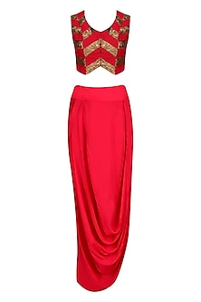 Red and Gold Pita Work Crop Top and Wrap Skirt Set