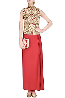Red Birds and Floral Embroidered Nehru Jacket and Wrap Skirt Set by Roshni Chopra