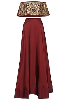Red Embroidered Off Shoulder Top and Skirt Set
