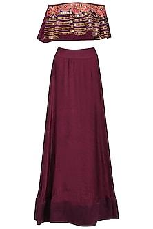 Burgundy Embroidered Off Shoulder Top and Skirt Set