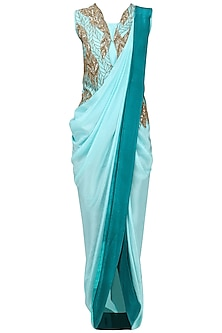 Mint Green Pre Draped Saree with Embroidered Jacket by Roshni Chopra