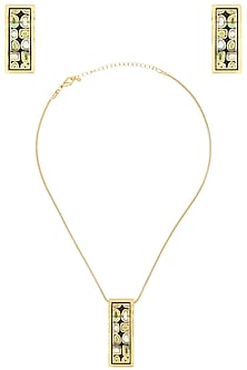 Gold plated rectangular wave design pendant set by Rosa Damascena by Shreya Jindal