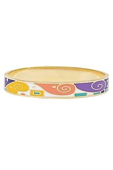 Gold plated yellow, pink, purple geometric openable bracelets by Rosa Damascena by Shreya Jindal