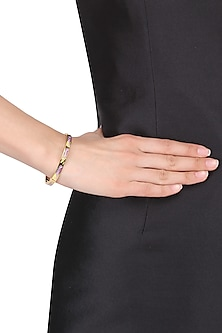 Gold plated yellow, pink and black narrow openable bracelet by Rosa Damascena by Shreya Jindal