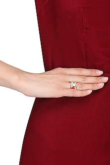 Gold plated pink, blue and red egyptian avatar broad ring by Rosa Damascena by Shreya Jindal