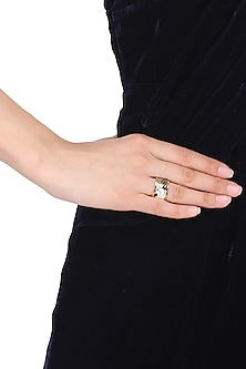 Gold plated black, grey and white egyptian avatar broad ring