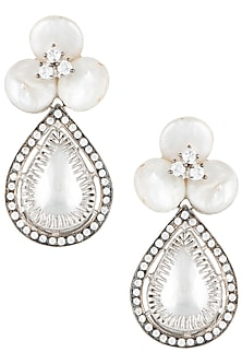 Silver plated floral pearl earrings by Rohita and Deepa