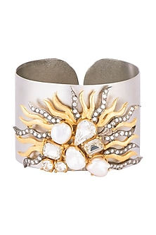 Gold and silver plated pearl cuff bracelet by Rohita and Deepa