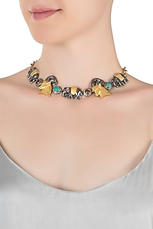 Gold and silver plated two tone motif necklace by Rohita and Deepa