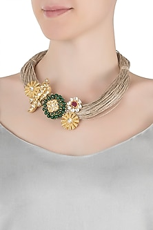 Gold plated green onyx and kundan necklace