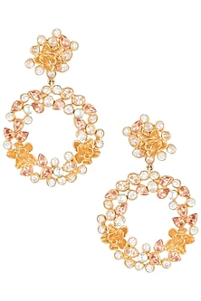 Gold plated floral crystal earrings by Rohita and Deepa