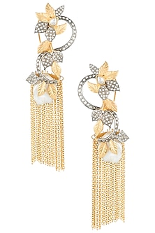 Gold and silver plated tassel earrings by Rohita and Deepa