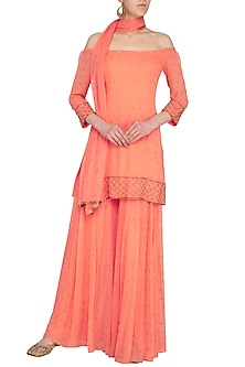 Coral Embroidered Sharara Set by Roora by Ritam