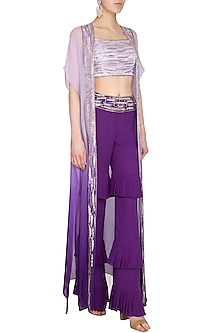 Lilac Embellished Crop Top With Pants & Ombre Jacket by Roora by Ritam