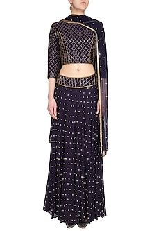 Midnight Blue Embellished Lehenga Set by Roora by Ritam