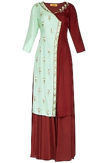 Sea Green & Maroon Embroidered Sharara Set