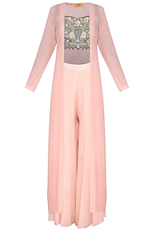Peach Embroidered Crop Top With Jacket & Pants
