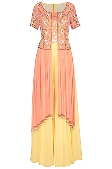 Coral & Yellow Embroidered Kurta With Pants