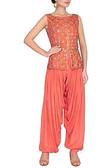 Coral Embellished Peplum Jacket With Pants by Roora by Ritam