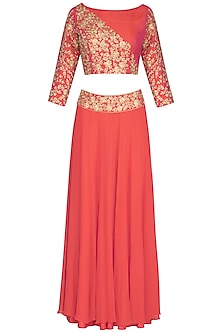 Coral Embroidered Lehenga Set