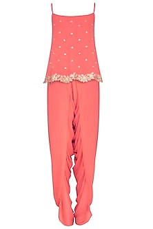 Coral Embellished Top With Overlap Dhoti Pants