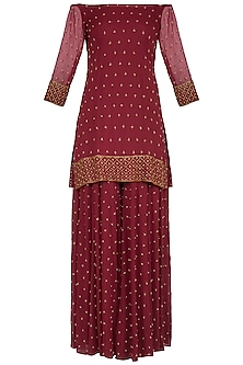 Maroon Embroidered Sharara Set by Roora by Ritam