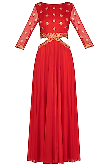Red Embellished Waist Cut Anarkali Gown With Dupatta