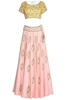 Peach & Yellow Embroidered Lehenga Set