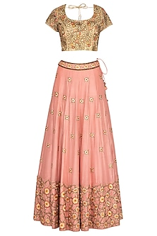 Peach & Golden Embroidered Lehenga Set