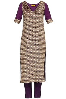 Burgundy Purple Embroidered Kurta Set