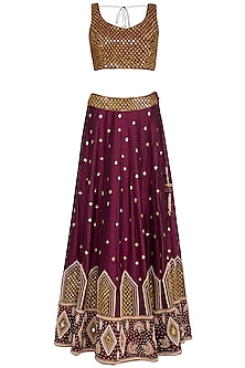 Burgundy Embroidered Lehenga Set
