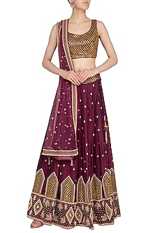 Burgundy Embroidered Lehenga Set by Roora by Ritam