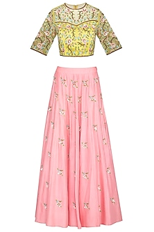 Pink & Lime Green Embroidered Lehenga Skirt With Blouse