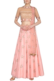 Nude Embroidered Lehenga Set by Roora by Ritam
