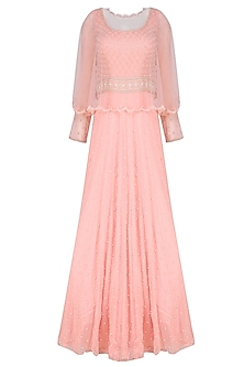Peach Pearl and Bead Work Gown with Scalloped Cape